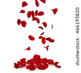 Stock photo rose petals fall to the floor isolated background 466195820