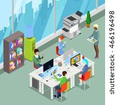 isometric office open space... | Shutterstock .eps vector #466196498