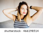 blue eyed blonde looks sad... | Shutterstock . vector #466198514