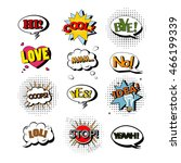 vector set of speech bubbles... | Shutterstock .eps vector #466199339