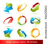 colorful 3d vector arrows set | Shutterstock .eps vector #46620061