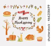 autumn thanksgiving foliage... | Shutterstock .eps vector #466208699