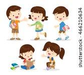 primary school students... | Shutterstock .eps vector #466210634