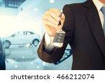 male hand holding car keys... | Shutterstock . vector #466212074