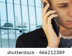 businessman talking on the... | Shutterstock . vector #466212389