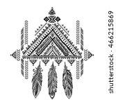 vector aztec mexican ethnic... | Shutterstock .eps vector #466215869
