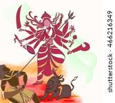 durga hindu goddess with asura... | Shutterstock .eps vector #466216349