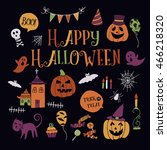 set of halloween fun and... | Shutterstock .eps vector #466218320