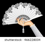 female hand with open white... | Shutterstock . vector #466228034