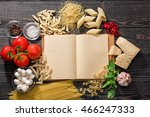 the blank  open recipe book and ... | Shutterstock . vector #466247333