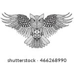 eagle owl. adult antistress... | Shutterstock .eps vector #466268990