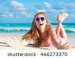 portrait of woman in bikini... | Shutterstock . vector #466273370