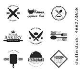 set of restaurant logo and... | Shutterstock .eps vector #466273658