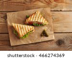 two sandwich pickles on a paper ... | Shutterstock . vector #466274369