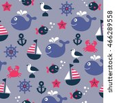 childish nautical seamless... | Shutterstock . vector #466289558