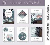 set of calm autumn brochures ... | Shutterstock .eps vector #466290089
