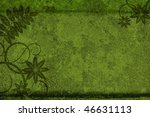 Antique green background with plant - stock photo