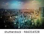 modern cityscape and wireless... | Shutterstock . vector #466316528