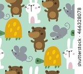 pattern with cute bear  turtle  ... | Shutterstock .eps vector #466328078