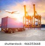 industrial container cargo... | Shutterstock . vector #466353668