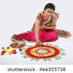 woman making rangoli for diwali ... | Shutterstock . vector #466355738
