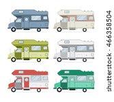 camping trailer family caravan... | Shutterstock . vector #466358504