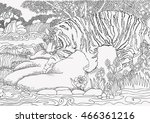 coloring page . jungle . africa ... | Shutterstock .eps vector #466361216