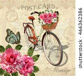 Stock vector vintage background with roses butterflies and bicycle 466362386