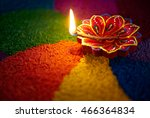 diwali oil lamp   diya lamp lit ... | Shutterstock . vector #466364834