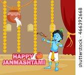 krishna janmashtami background... | Shutterstock .eps vector #466392668