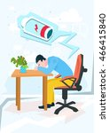 tired business man work laptop... | Shutterstock .eps vector #466415840