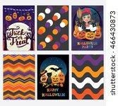 happy halloween   set of three... | Shutterstock .eps vector #466430873