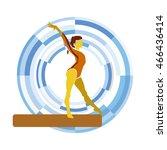 balance beam. silhouette of a... | Shutterstock .eps vector #466436414