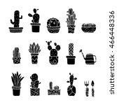 set of fancy cactus plants... | Shutterstock .eps vector #466448336