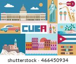 cuba attraction and sights  ... | Shutterstock .eps vector #466450934