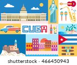 cuba attraction and sights  ... | Shutterstock .eps vector #466450943