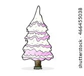 cartoon pink snowy tree | Shutterstock . vector #466455038