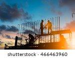 silhouette engineer standing... | Shutterstock . vector #466463960