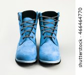 blue leather boots  over white... | Shutterstock . vector #466464770