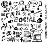 set of vector doodles   can be... | Shutterstock .eps vector #466466399