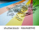 metal paper clips on colored... | Shutterstock . vector #466468940