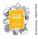 vector vintage fast food... | Shutterstock .eps vector #466477820