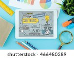 core values concept on tablet... | Shutterstock . vector #466480289
