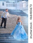 beautiful princess in a blue... | Shutterstock . vector #466483673