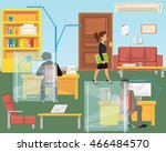 people in the interior of the... | Shutterstock .eps vector #466484570