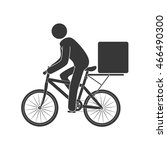 courier bike box  isolated flat ... | Shutterstock .eps vector #466490300