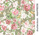 watercolor floral seamless... | Shutterstock . vector #466498058