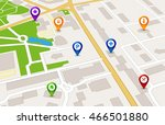 vector perspective city map gps ... | Shutterstock .eps vector #466501880