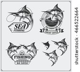 set of sea fishing labels ... | Shutterstock .eps vector #466522664