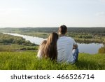 romantic couple looks at a... | Shutterstock . vector #466526714